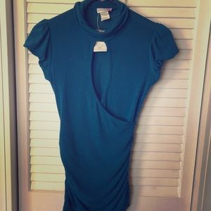 Size small dressy open cut blue shirt 💕